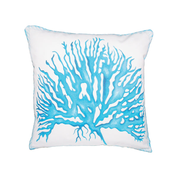 Beautiful GuildMaster  Coral Rope Hand-painted 20x20 Outdoor Pillow  in  Polyester Fabric, Polyfil