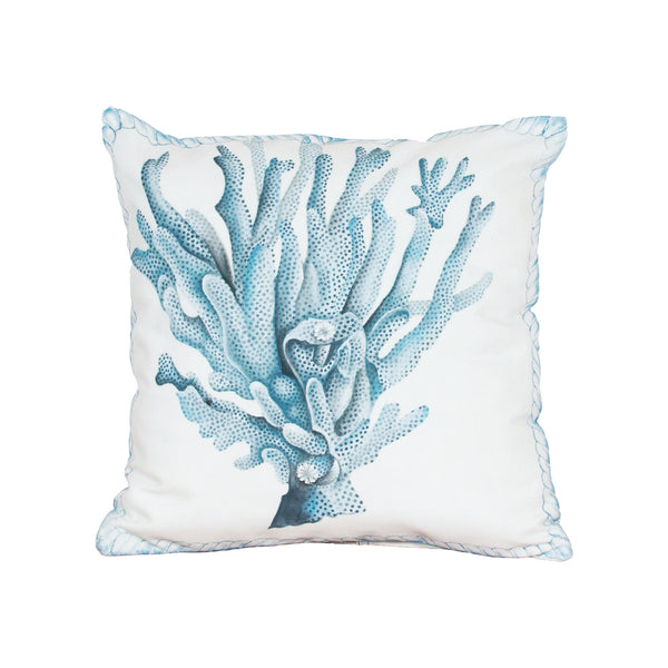 Beautiful GuildMaster  Coral Hand-painted 20x20 Outdoor Pillow  in  Polyester Fabric, Polyfil