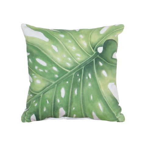 Beautiful GuildMaster  Leaf 1 Hand-painted 20x20 Outdoor Pillow  in  Polyester Fabric, Polyfil