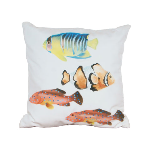 Beautiful GuildMaster  Fish 1 Hand-painted 20x20 Outdoor Pillow  in  Polyester Fabric, Polyfil