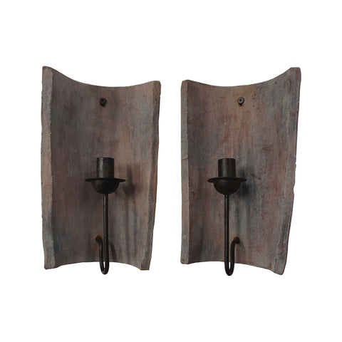 Beautiful GuildMaster  Terra Cotta Tile Candle Sconce - Set of 2  in  Terra Cotta