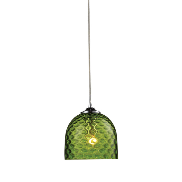 ELK Lighting  Viva 1-Light Green Pendant in Polished Chrome
