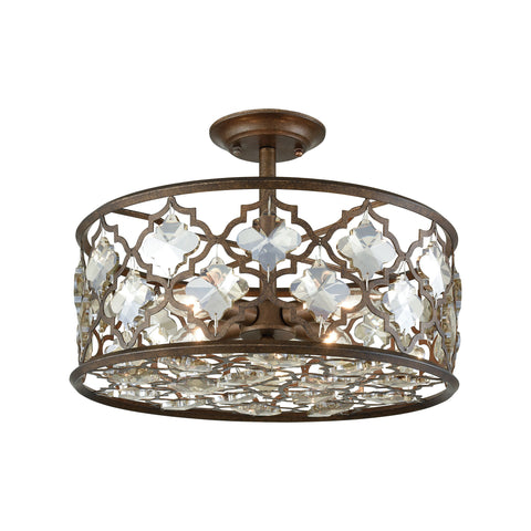 Elk Armand 4 Light Semi Flush In Weathered Bronze With Champagne Plated Crystal Semi Flush item number 31092/4