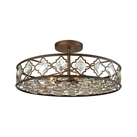Elk Armand 8 Light Semi Flush In Weathered Bronze With Champagne Plated Crystal Semi Flush item number 31093/8