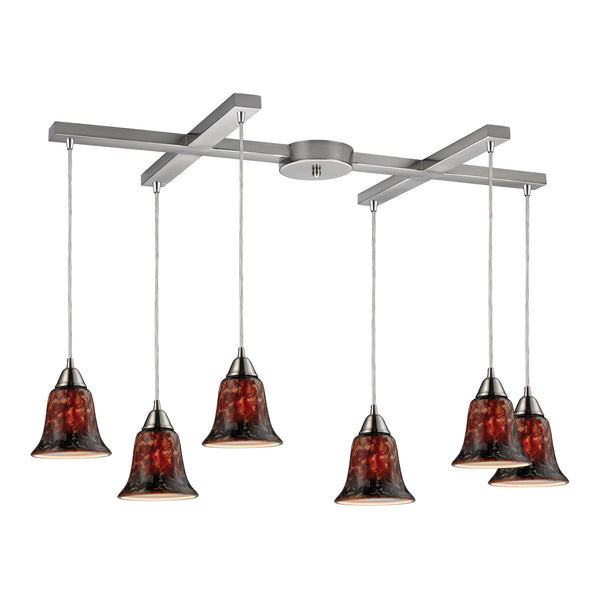 Confections 6 Light Pendant In Satin Nickel And Fudge Glass