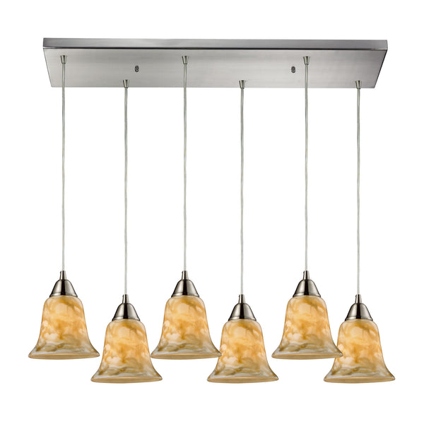 Confections 6 Light Pendant In Satin Nickel And Nougat Glass