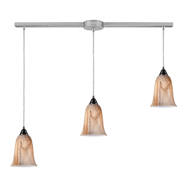 Granite 3 LED Light Pendant In Satin Nickel