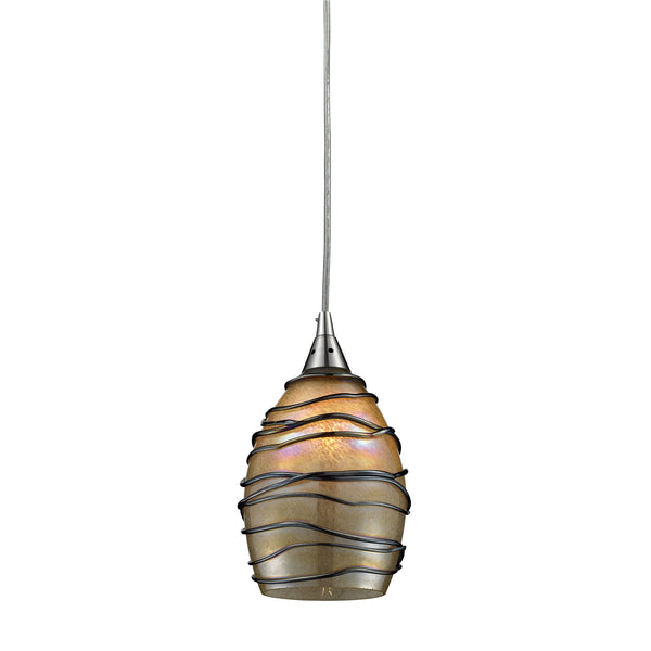 Vines 1 Light Pendant In Satin Nickel And Tan Glass