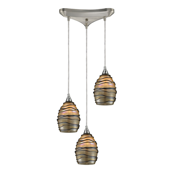 Vines 3 Light Pendant In Satin Nickel And Tan Glass