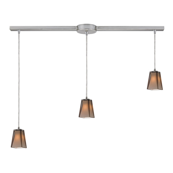Cubico 3 Light Pendant In Satin Nickel
