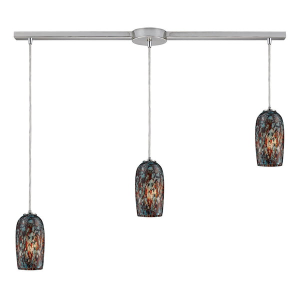 Collage 3 Light Pendant In Satin Nickel