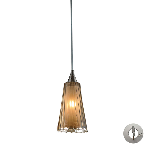 Encapsulate 1 Light Pendant In Satin Nickel - Includes Recessed Lighting Kit