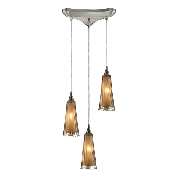 Encapsulate 3 Light Pendant In Satin Nickel