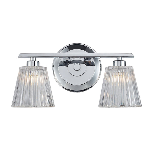 Calais 2 Light Vanity In Polished Chrome And Clear Crystal Glass