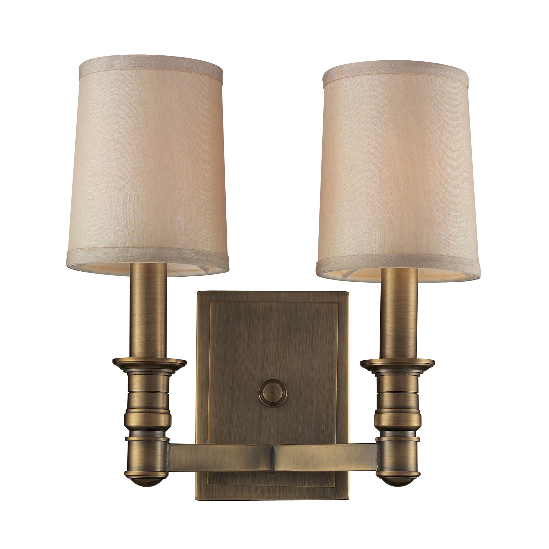 Baxter 2 Light Wall Sconce In Brushed Antique Brass
