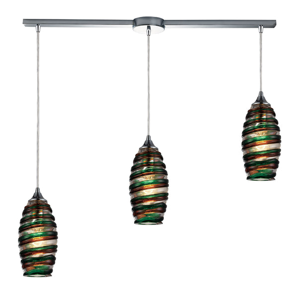 Twister 3 Light Pendant In Polished Chrome