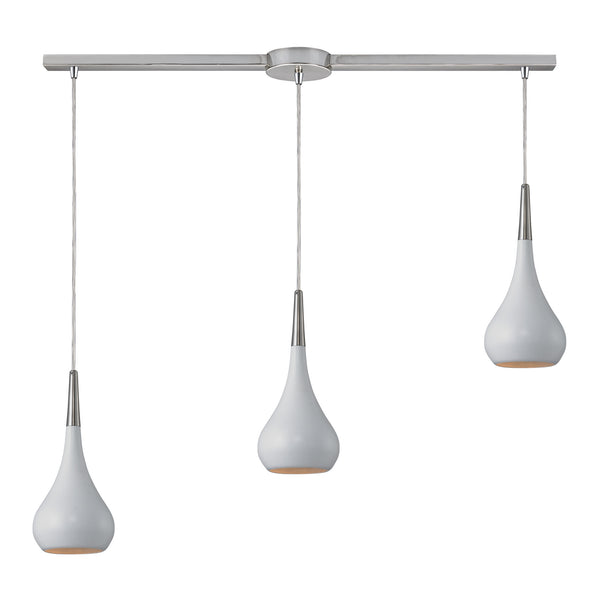 Lindsey 3 Light Pendant In White And Satin Nickel