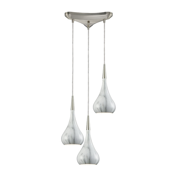 Lindsey 3 Light Triangle Pan Fixture In Satin Nickel With Marble Print Shade - Includes Recessed Lighting Kit