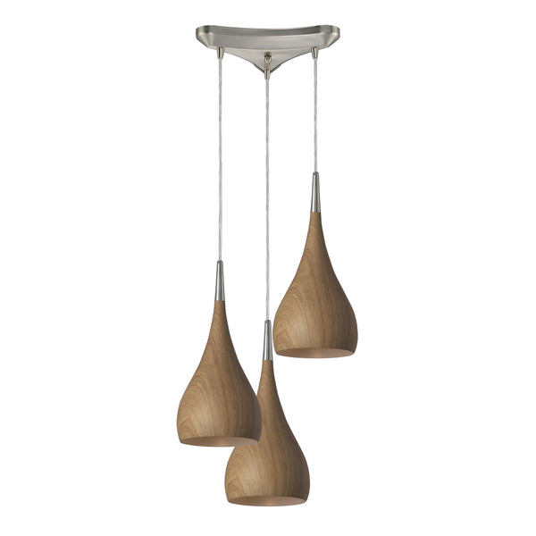 Lindsey 3 Light Pendant In Medium Oak And Satin Nickel