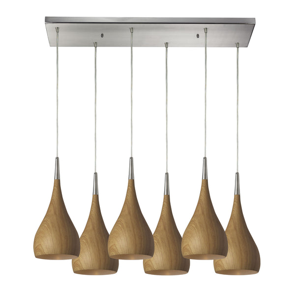 Lindsey 6 Light Pendant In Medium Oak And Satin Nickel