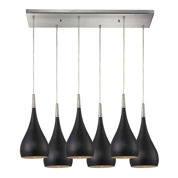 Lindsey 6 Light Pendant In Oiled Bronze And Satin Nickel