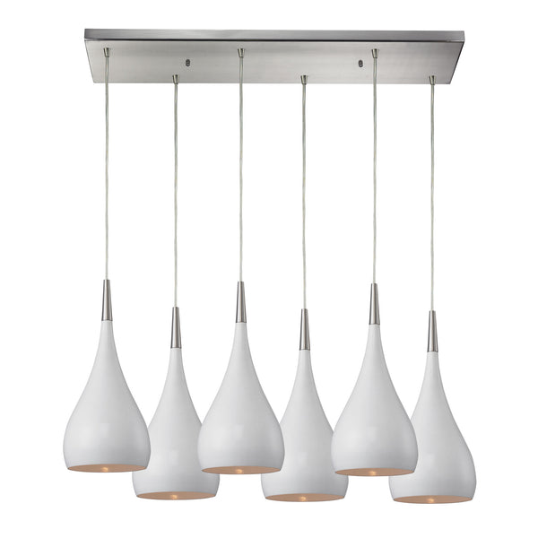 Lindsey 6 Light Pendant In White And Satin Nickel