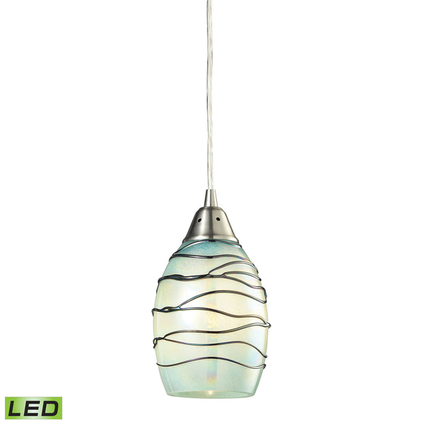Vines 1 Light LED Pendant In Satin Nickel And Mint Glass