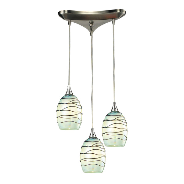 Vines 3 Light Pendant In Satin Nickel And Mint Glass