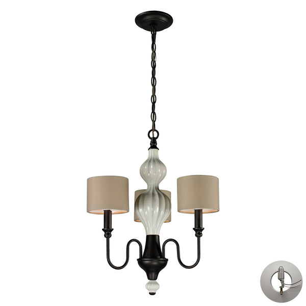 Lilliana 3 Light Chandelier In Cream And Aged Bronze - Includes Recessed Lighting Kit