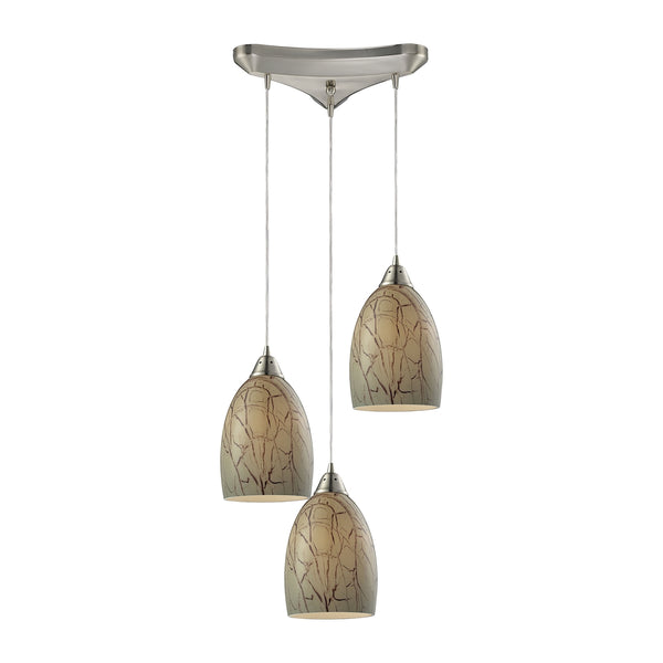 Crackle 3 Light Pendant In Satin Nickel
