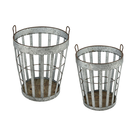 Beautiful Sterling  Applejack Baskets  in  Fir Wood, Galvanized Metal