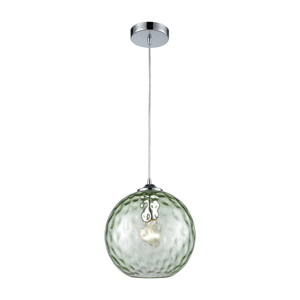 Watersphere 1 Light Pendant In Polished Chrome With Light Green Hammered Glass