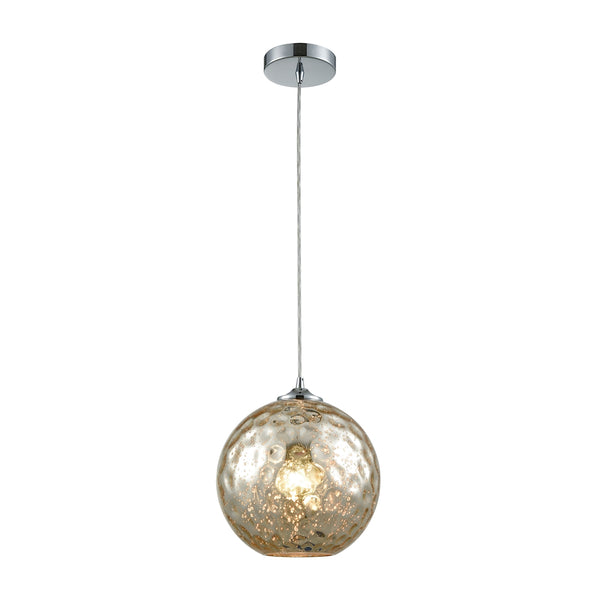 Watersphere 1 Light Pendant In Polished Chrome With Mercury Hammered Glass - Includes Recessed Lighting Kit