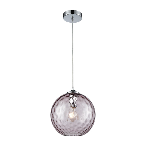 Watersphere 1 Light Pendant In Polished Chrome With Purple Hammered Glass - Includes Recessed Lighting Kit