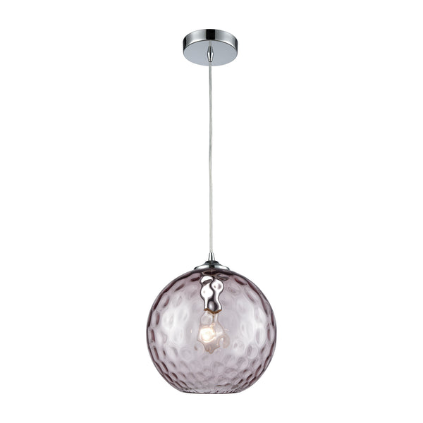 Watersphere 1 Light Pendant In Polished Chrome With Purple Hammered Glass
