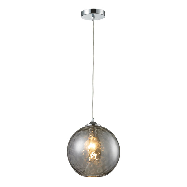 Watersphere 1 Light Pendant In Polished Chrome And Smoke Glass