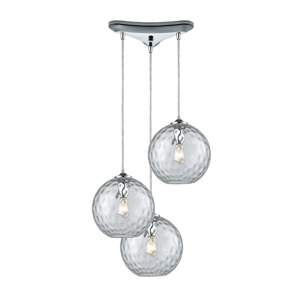Watersphere 3 Light Triangle Pan Fixture In Polished Chrome With Clear Hammered Glass