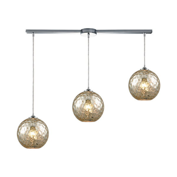 Watersphere 3 Light Linear Bar Fixture In Polished Chrome With Mercury Hammered Glass