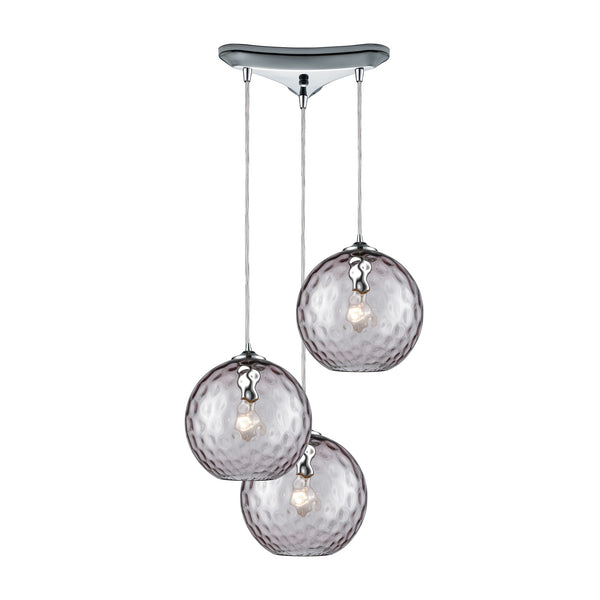 Watersphere 3 Light Triangle Pan Fixture In Polished Chrome With Purple Hammered Glass