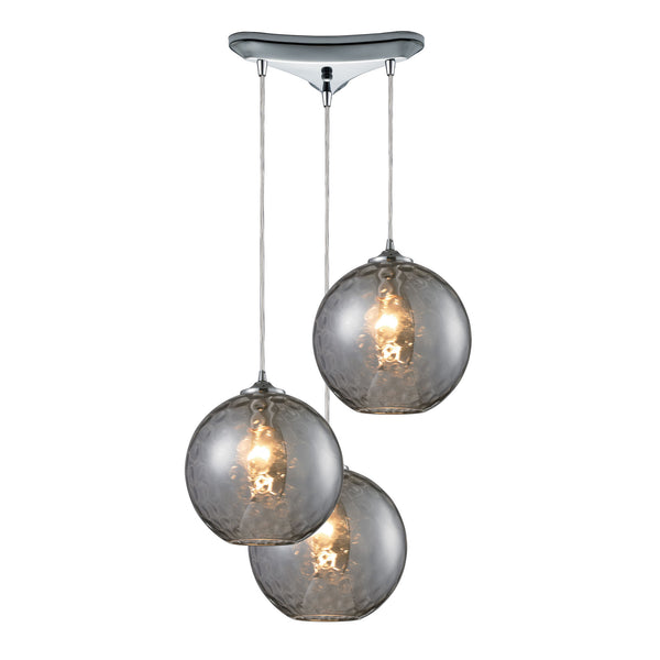 Watersphere 3 Light Pendant In Polished Chrome And Smoke Glass
