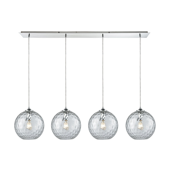 Watersphere 4 Light Linear Pan Fixture In Polished Chrome With Clear Hammered Glass