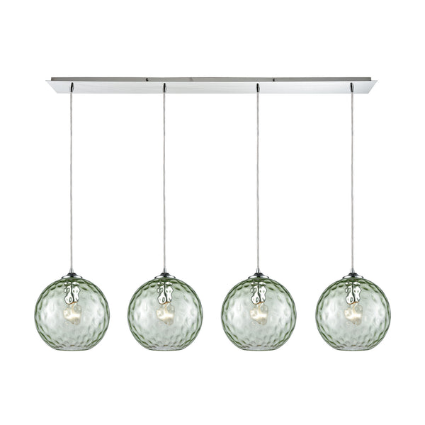 Watersphere 4 Light Linear Pan Fixture In Polished Chrome With Green Hammered Glass