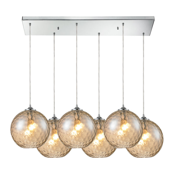 Watersphere 6 Light Pendant In Polished Chrome And Champagne Glass