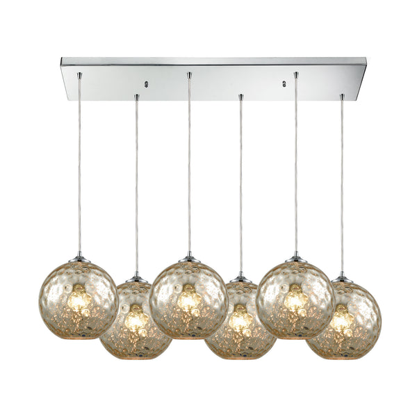 Watersphere 6 Light Rectangle Fixture In Polished Chrome With Mercury Hammered Glass