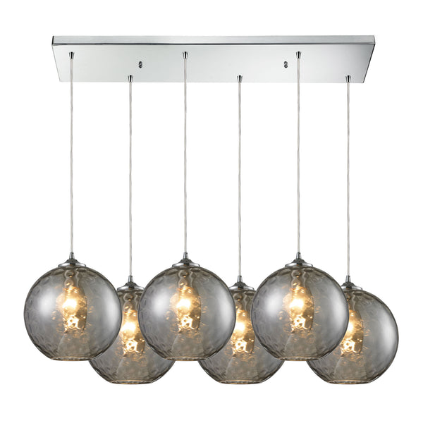 Watersphere 6 Light Pendant In Polished Chrome And Smoke Glass