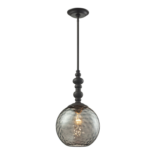 Watersphere 1 Light Pendant In Oil Rubbed Bronze And Smoke Glass