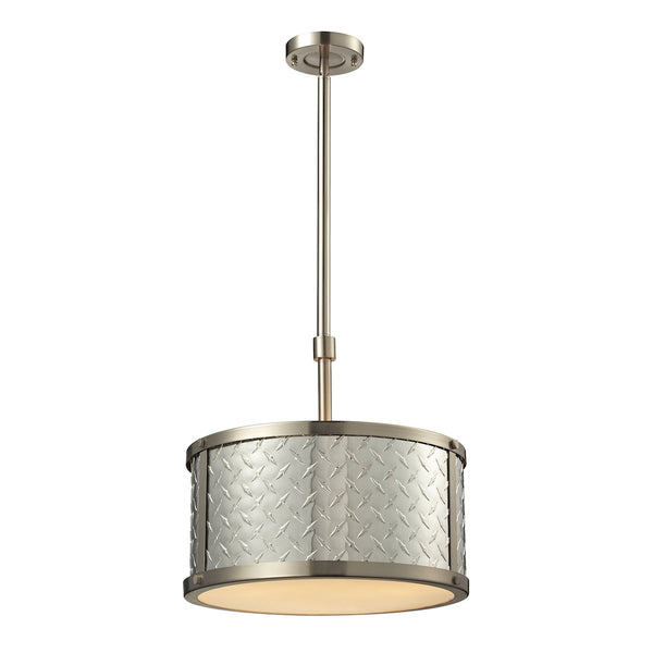 Diamond Plate 3 Light Pendant In Brushed Nickel