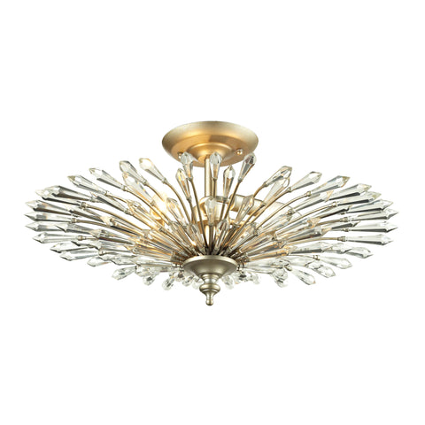 Viva Natura 3 Light Semi Flush In Aged Silver