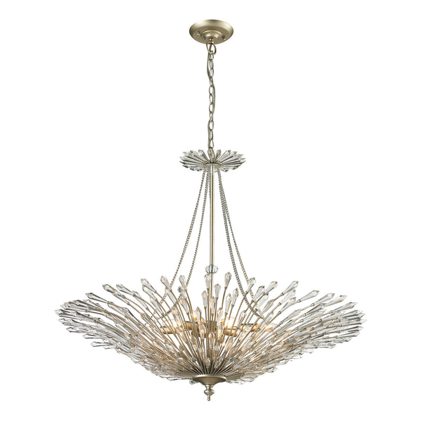 Viva Natura 8 Light Pendant In Aged Silver