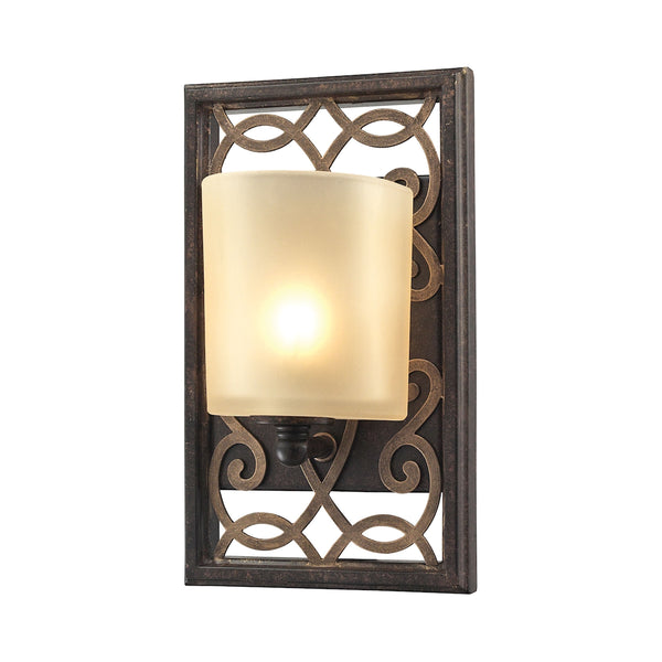 Santa Monica 1 Light Vanity In Weatbered Bronze With Gold Highlights